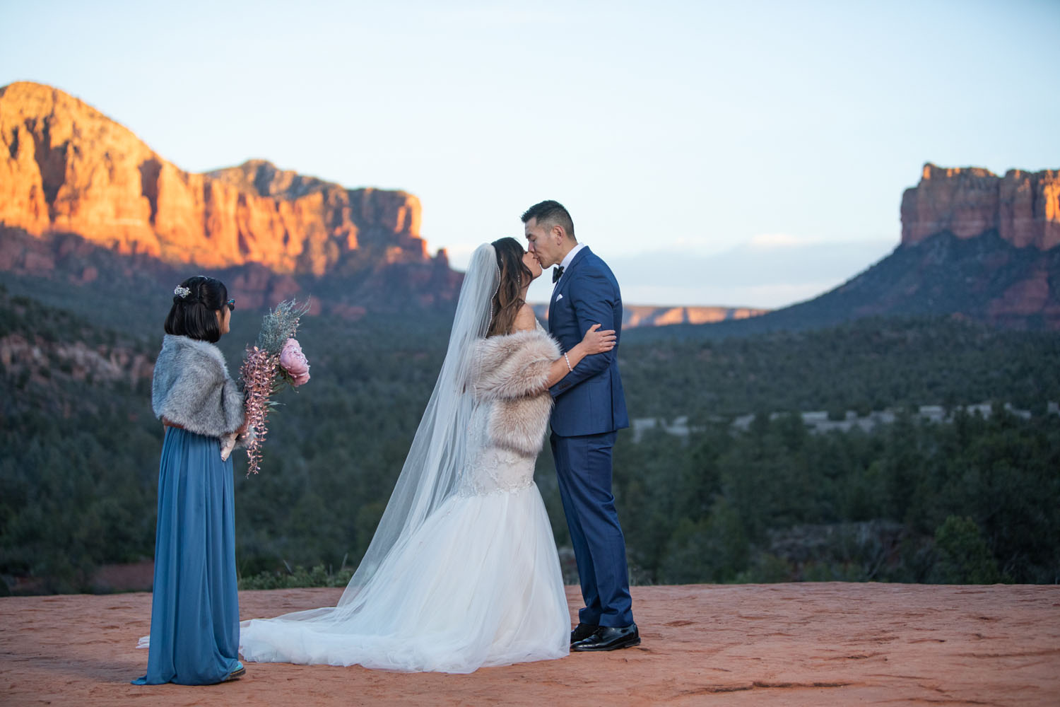 Victor Vongpraseuth and Andrea Thomas tied the knot on Jan. 1, 2020 at Cathedral Rock in Sedona after getting ready at the Creakside Inn. Photo by Sean Openshaw / www.SeanOpenshaw.com