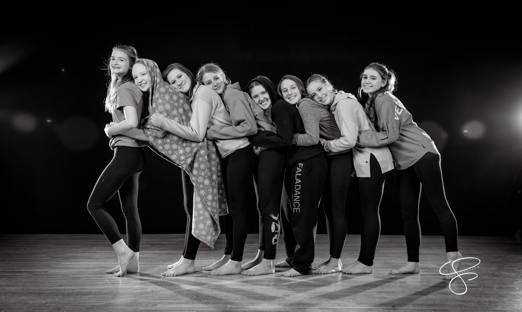 Canyon Dance Academy's Velocity dancers pose for team photos on January 29, 2020. Photo by Sean Openhaw / www.SeanOpenshaw.com