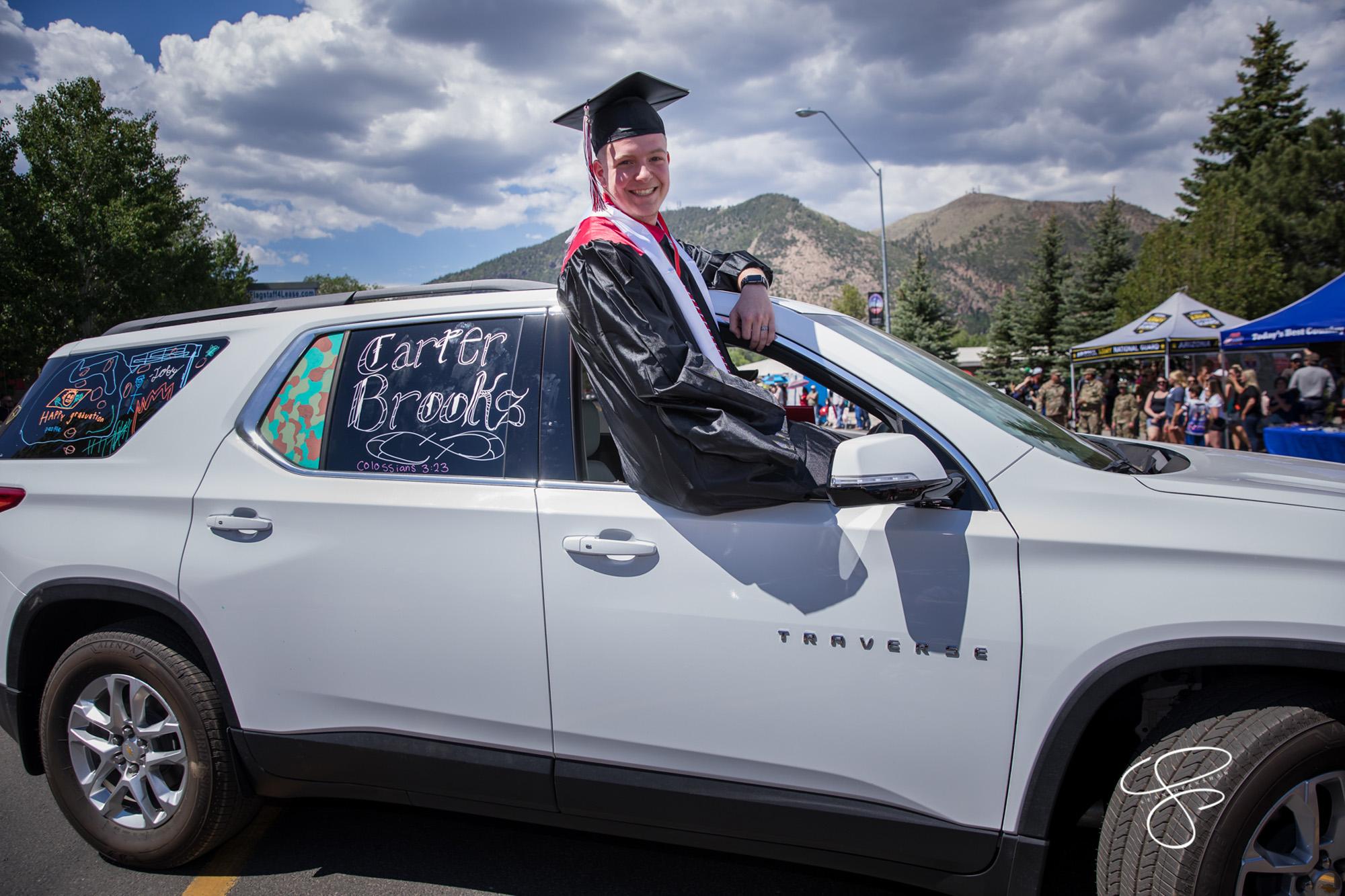 The Coconino High School Class of 2020 graduation ceremony proceeded down Fourth Street in Flagstaff, Arizona on May 29, 2020. CHS 2020 graduation photos by Sean Openshaw, www.SeanOpenshaw.com